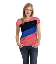 Buy Women   s Front Cut & Sew Panel T-Shirt Red Melange party-top online