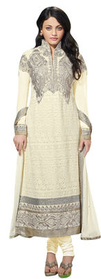 Glorious Embroidered Faux Georgette Salwar Kameez