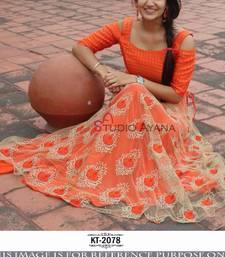 Buy Orange embroidered net unstitched lehenga with dupatta black-friday-deal-sale online