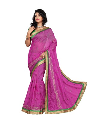 Style Pink royal brasso and plain net saree.