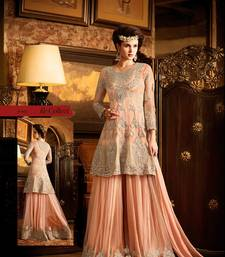Buy Peach embroidered net semi stitched salwar with dupatta sharara online