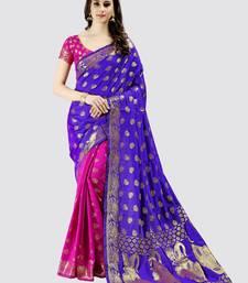 Buy Purple printed art silk saree with blouse below-1500 online