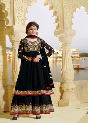 Black Color Designer Anarkali Suit On 60 Gm Georgette Fabric
