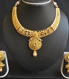 Buy Delicatedly carved choker necklace set. necklace-set online