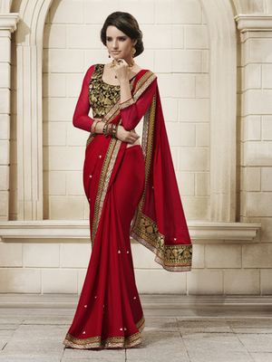 Awesome Red Chiffon Designer Saree