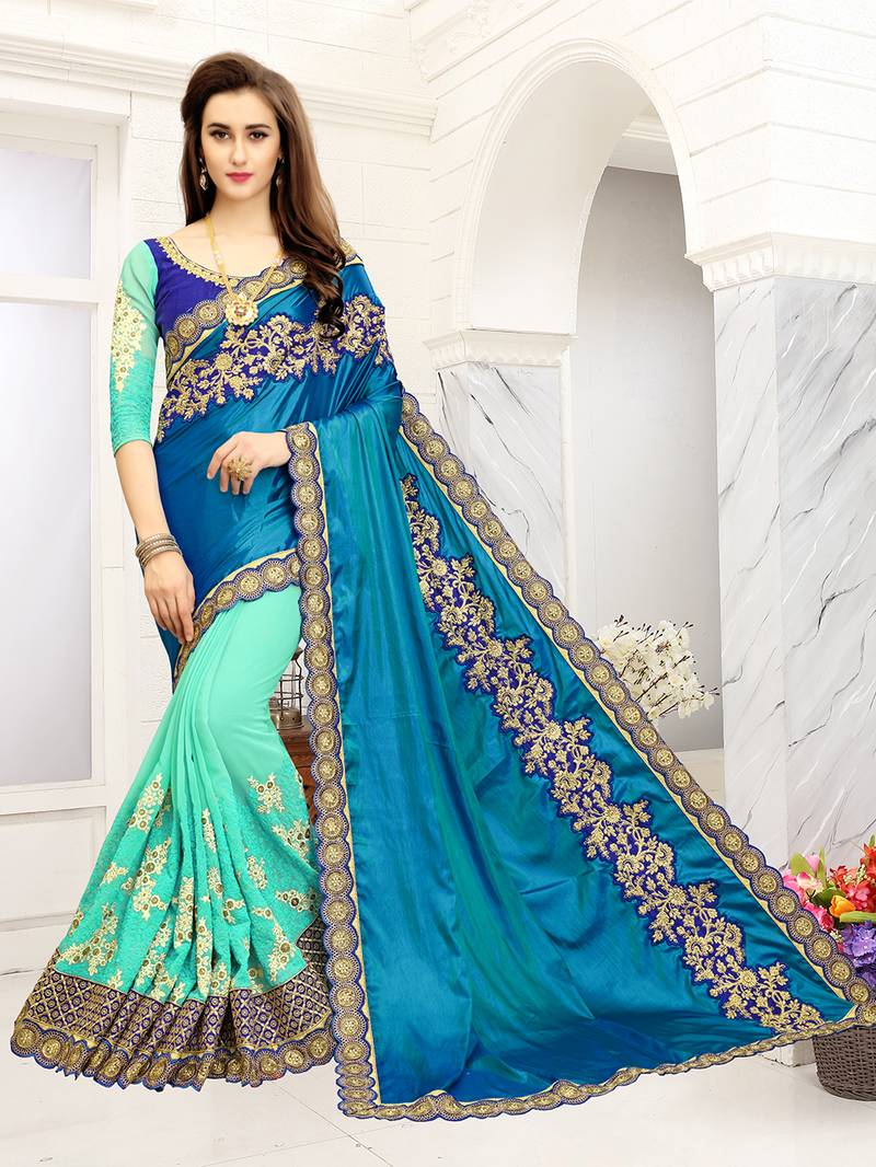 Buy turquoise embroidered georgette net saree with blouse for Buy art online india