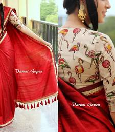 Buy Red printed chanderi saree with blouse chanderi-saree online