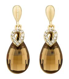 Buy Brown crystal earrings jewellery-below-500 online
