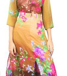Buy Brown printed stitched chiffon-kurtis chiffon-kurti online