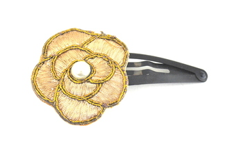 Gold zari work flower ethnic clip
