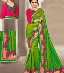Buy Parrot green hand woven silk saree with blouse silk-saree online