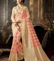 Buy Cream woven poly cotton saree with blouse south-indian-saree online