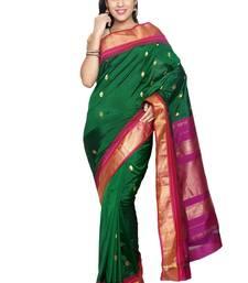 Buy Green silk saree with blouse kanchipuram-silk-saree online