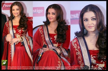 Aishwarya Rai Red Chiffon Bollywood Saree