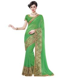 Buy Green embroidered faux georgette saree with blouse party-wear-saree online
