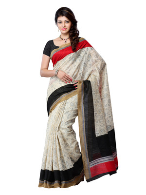 Beige, Black And Red Color Art Silk Party Wear Fancy Saree