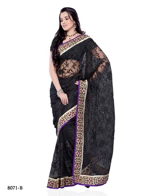 Black Color Net Designer Saree