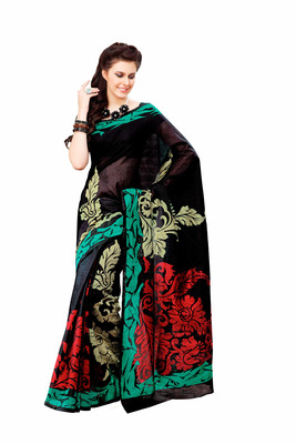 Black and Multicolor Raw Silk Saree