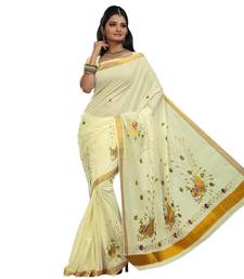 Buy Cream embroidered cotton saree with blouse kerala-saree online