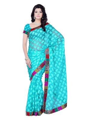 Blue Color Jacquard PartyFestival Wear Saree