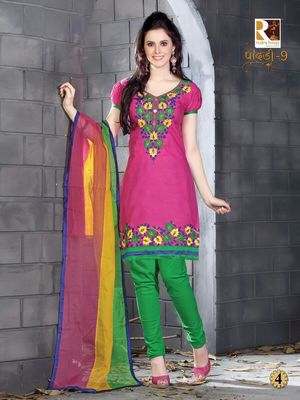 heavy embroidery.pink green salwar suit