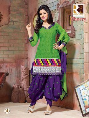 heavy embroidery.green purple salwar suit