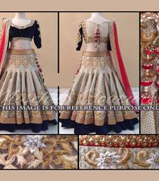 Buy Cream embroidered jacquard unstitched lehenga with dupatta lehenga-choli online