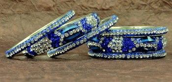Fashio0ble Rajasthani Blue Crystal Lakh Bangels