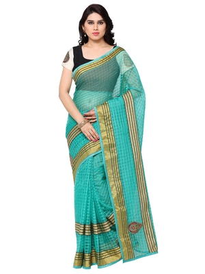 Turquoise green kota cotton embroidered saree with blouse