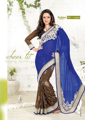 Superb Blue & Coffee Chiffon Saree
