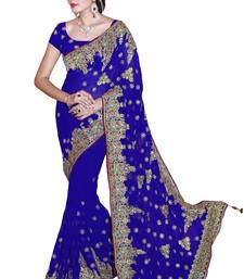 Buy Royal blue embroidered faux georgette saree with blouse bridal-saree online