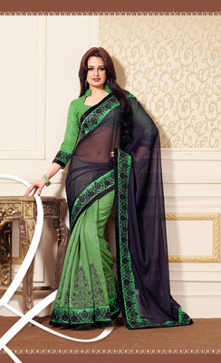 Graceful Wine & Green Silk Saree