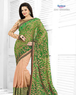 Astounding Green Georgette Jacquard Saree