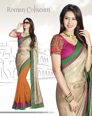 Gorgeous Pink & Green Georgette Saree With Embroidery Work