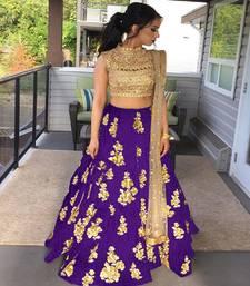 Buy Purple embroidered silk unstitched lehenga with dupatta lehenga-choli online