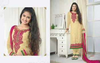 Cream Embroidery Georgette unstiched party wear salwar kameez