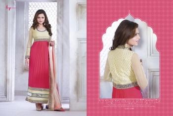 Pink Embroidery Georgette unstiched  party wear salwar kameez