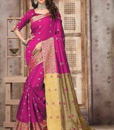 Buy Magenta woven silk saree with blouse art-silk-saree online