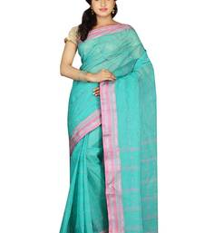 Buy Sky blue hand woven cotton saree with blouse handloom-saree online