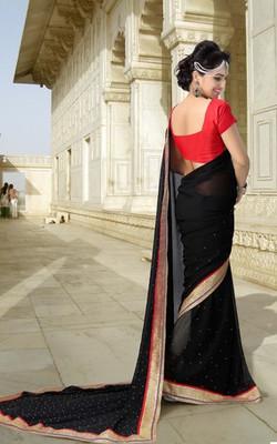 Black Partywear Designer Georgette Saree