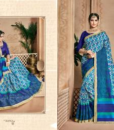 Buy Blue printed manipuri silk saree with blouse Woman online
