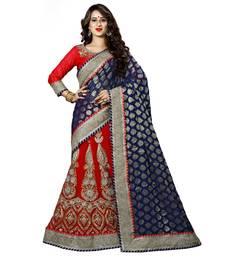 Buy Blue embroidered faux jacquard saree  half-saree online