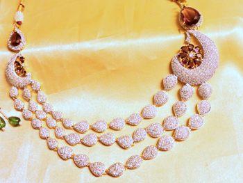 3 line cz wine color necklace