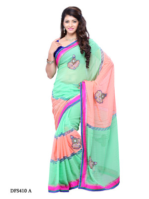 Green And Rust Color Georgette Bollywood Party Wear Designer Saree