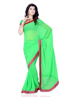 Green Color Georgette PartyFestival Wear Saree