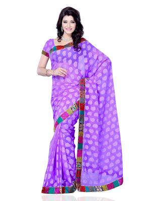 Lavender Color Jacquard PartyFestival Wear Saree