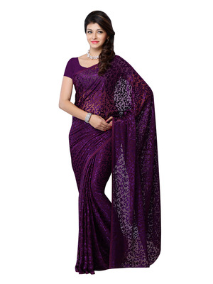 Purple Color Brasso Party Wear Fancy Saree