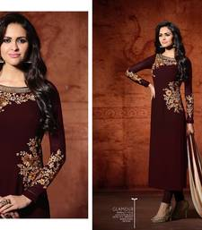 Buy Maroon embroidered georgette salwar with dupatta party-wear-salwar-kameez online