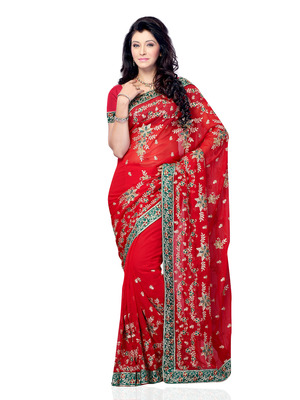 Red Color Georgette Party Wear Designer Saree