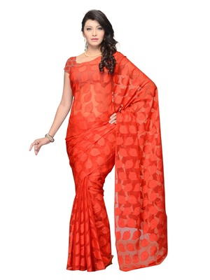 Red Color Jacquard Casual Wear Fancy Saree